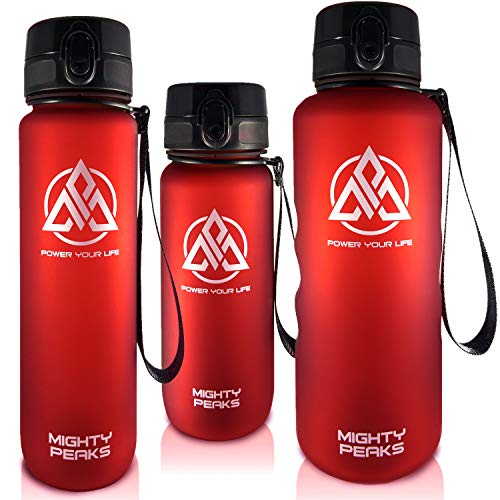 MIGHTY PEAKS Tritan Sport-Trinkflasche 1l BPA frei Wasserflasche 1liter Red, Rot Trinkflasche Kinder, Plastik-Flasche 1l Leicht, Bruchsicher