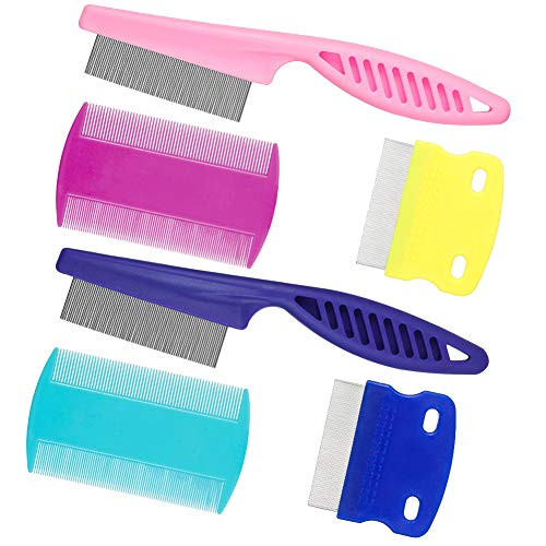 KINAKE Pet Lice Combs 6 Pieces Dog Grooming Flea Comb Cat Tear Stain Comb for Removal Dandruff, Hair Stain, Nit