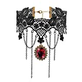 iWenSheng Halloween Costumes Jewelry for Women - Steam-punk Black Lace Choker Necklace Gothic Jewelry Accessories, Vampire Choker Necklace Costume for Teen Girls (2#)
