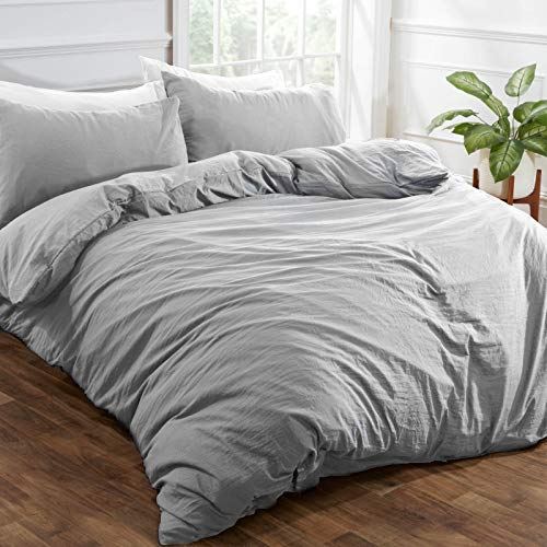 Brentfords Washed Linen Duvet Cover with Pillow Case Soft Brushed Microfiber Bedding Set, 100% Polyester, Silver Grey, Single