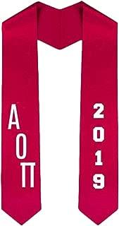 Custom Alpha Omicron Pi AOII Greek Diagonal Lettered Graduation Sash Stole With Year