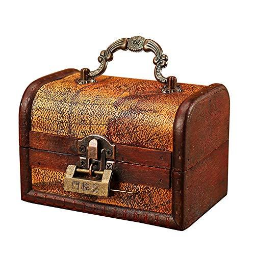 Maletas Decorativas Conjunto de madera de la vendimia 2 Cofre del tesoro...