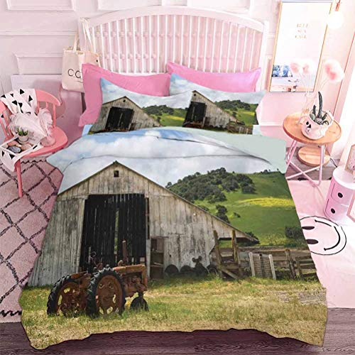 Lightweight Comforter Set for All Season Old Wooden Barn with Rusted Tractor Hillside Enclosed with Wooden Fence and Trees (3pcs, California King Size) Pillow case
