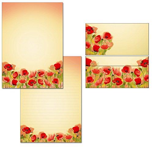 Bloc de cartas con amapolas – 1 bloc de notas DIN A4 + 15 sobres DIN largo 7420 + 6129F
