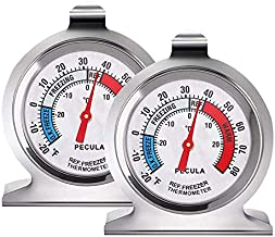 2 Pack Refrigerator Thermometer, 30-30°C/20-80°F, Classic Fridge Thermometer Large Dial with Red Indicator Thermometer for Freezer Refrigerator Cooler