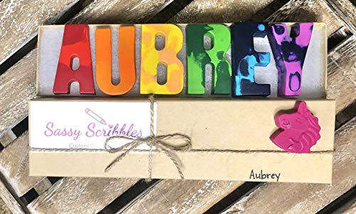 SASSY SCRIBBLES Custom Personalized Name Crayon Set for Kids - Colorful Easter or Birthday Gift Sets - Unique Learning Letters & Shapes