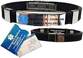 Silicone Designer Medical ID Bracelet (incl. 5 Lines of Custom Engraving). Choose Your Color! (Black)