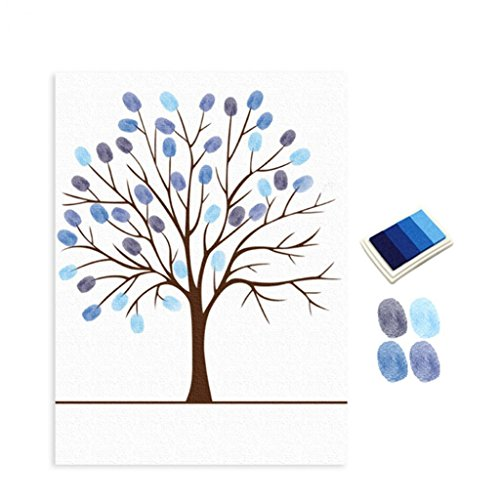 Sukisuki Libro de firmas para árbol de huellas dactilares con almohadilla de tinta para decoración de pared, azul, talla única