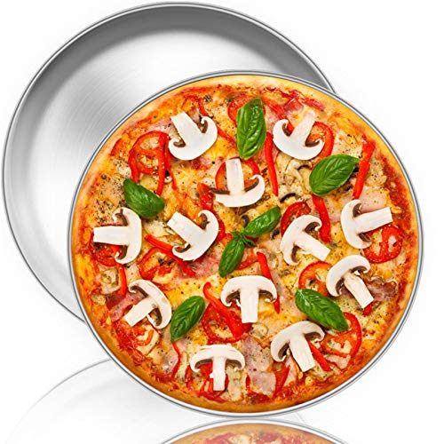 TeamFar Pizza Pan, 12 inch Pizza Pan Set Stainless Steel Round Pizza Oven Pans Tray for Baking Serving, Healthy & Heavy Duty, Dishwasher Safe & Easy Clean - Set of 2