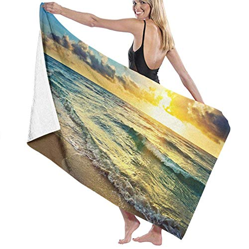 XCNGG Highly Absorbent Bathroom Towel Robe Fade Resistant Comfortable Soft Shower Sheets Premium Travel Home Towel for Travel Pool Spa Hotel80x130cmGold Coast Skyline Sea Water