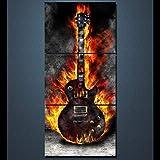 XIANRENGE Leinwanddrucke,3 Panel Brennende Gitarre Poster