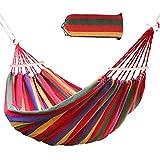Ertisa Hamaca de Algodón, 220x120CM Hamacas Grande para Jardín al Aire Libre Cama Portátil de Lona con Cuerdas para Acampar Capacidad de 200 Kg Peso Ligera con Bolsa