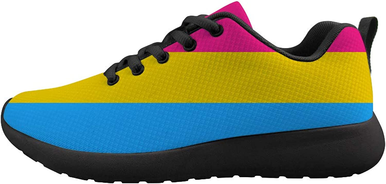 Owaheson Cushioning Sneaker Trail Running shoes Mens Womens Pansexual Pride Flag