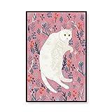 Dibujos Animados Gato Ilustración Poster Impresiones Vivero Lienzo Pared Arte Nórdico Estilo Niños Habitación Hogar Animal Gracioso Gato Pared Pintura Decoracion 40x60cmx1 No Marco