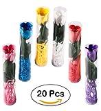Lote 20 Flores Rosas de Pétalos de Jabón en Caja de Regalo - Jabones Baratos para Detalles de Bodas, Bautizos y Comuniones. San Valetín Regalos