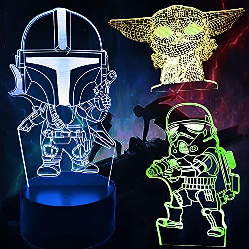 ANVRIL ELF Star Wars 3D Illusion Lamp for Kids, 3D Baby Yoda Night Light with Timing Remote Control and 16 Color Change, Star Wars Mandalorian Baby Yoda Toys for Boys Men Kids Fans(3 Patterns)
