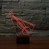 DFDLNL Violín 3D Luz Nocturna Instrumento Musical Interruptor táctil Lámpara de Mesa 3D para el hogar Sala de Estar Decoración Ventiladores de música Mejor Regalo