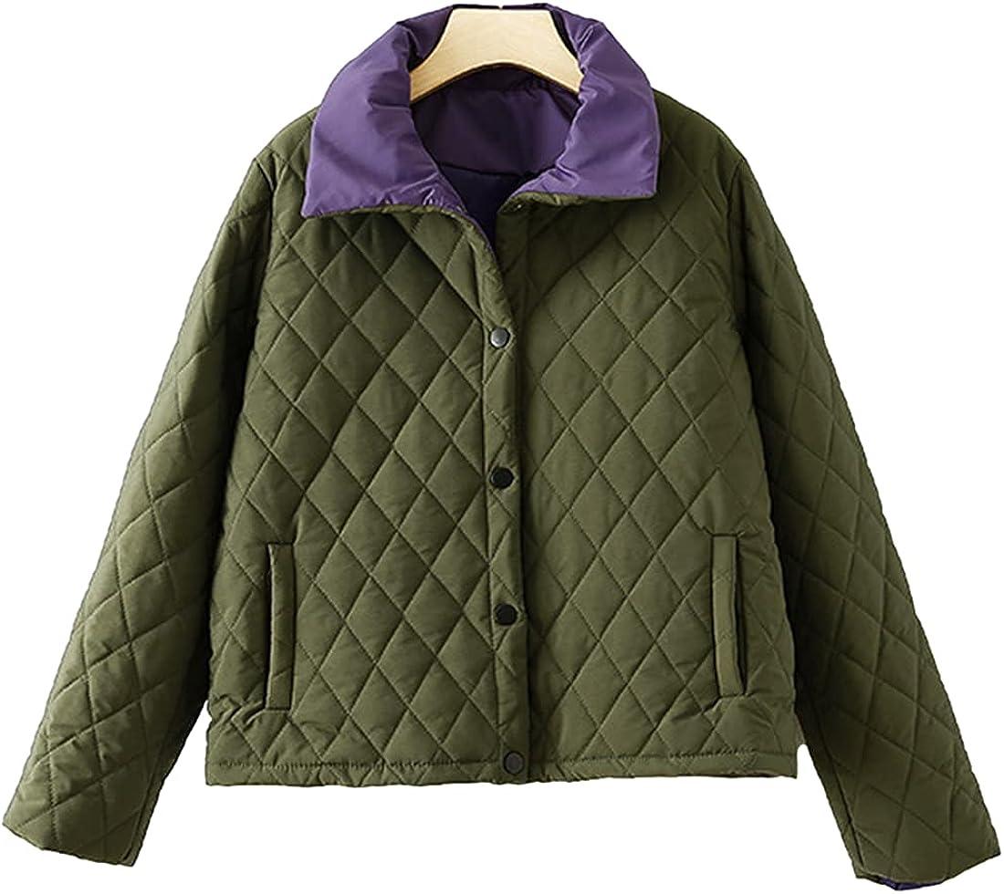 Omoone Women's Waterproof Warm Quilted Down Jacket Thicken Color Block Short Outwear