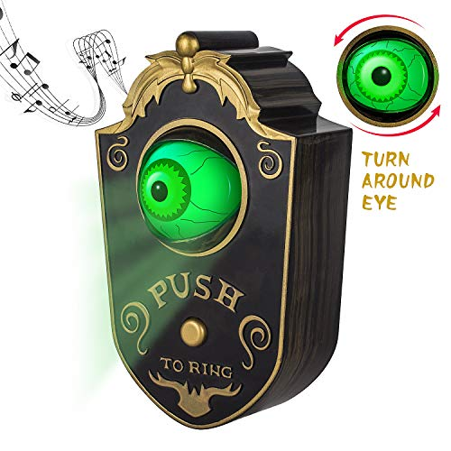 Sler Halloween Decoration for Indoor & Outdoor, Animated Lightup Talking Eyeball Doorbell for Animatronic Halloween Decor, Trick or Treat Event for Kids, Haunted House Halloween Party Prop Decoration