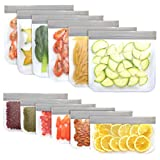 Jagrom 12 Pack BPA FREE Reusable Food Storage Bags 6 Sandwich Lunch Bags & 6 Small Kids Snack Bags, EXTRA THICK Leak Proof Flat Freezer Bags, Kitchen Resealable Zipper Bags for Vegetables Meat Fruit
