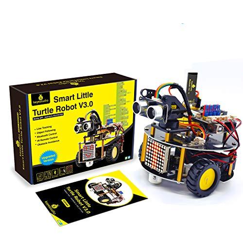 KEYESTUDIO Coche Robótico Inteligente, Módulos de Seguimiento de Linea, Sensor por Ultrasonidos y IR Control Remoto, Kit Robótico para entusiastas de la programación Arduino IDE