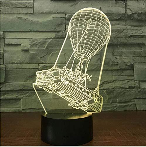 3D LED Luz de noche,3D illusion lamp, Lámpara de ilusión 16 colores Lámpara de decoración Cambio 3D Ilusión óptica Lámpara, Globo aerostático para niños
