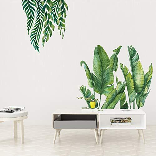 Grüne Bananenblatt tropische Pflanzen Wandaufkleber, Abnehmbare Baum Blätter Tapete Wandtattoo, DIY Wandkunst Dekor Wohnaccessoires Wandsticker für Schlafzimmer Wohnzimmer Kinderzimmer, 120 x 80 cm