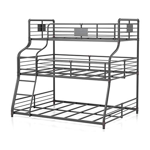 Furniture of America Bryon Metal Black Twin/Full/Queen Triple Bunk Bed