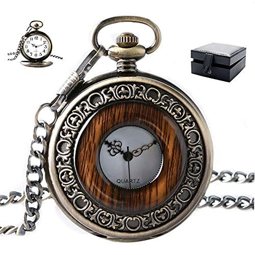 ZHAOJ Reloj Vintage de Cuarzo analógico, Caja Redonda de Madera, Reloj de Bolsillo con Cadena,...