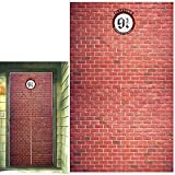 Platform 9 and 3/4 King's Cross Station, Curtains Door, Red Brick Wall Party Backdrop, Secret Passage to The Magic School, Platform Party Supplies Halloween Christmas Decoration 78.7'x 49.2' Inch