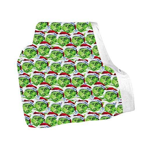 Heshengwan The Grinch Coperta, Grinch Stole Coperta di Natale Green Monster Peluche Coperta di tiro Reborn Baby Grinch Coperta di Natale Coperta di Natale Grinch per Camera da Letto e Divano
