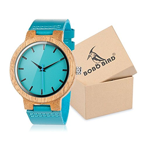 bobo Bird–Reloj Madera con pulsera piel azul cebra–MODELE WC 28