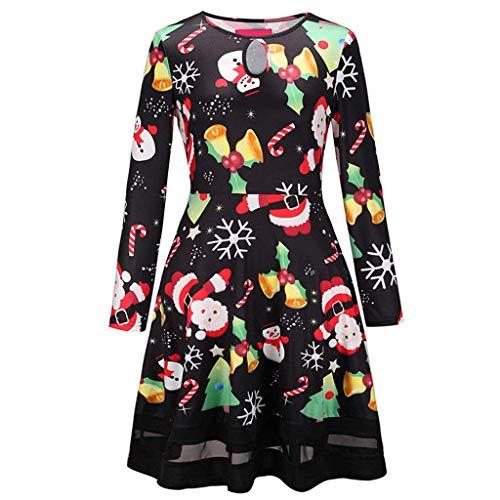 Kostium świąteczny dla kobiet z długim rękawem, okrągłym dekoltem, nadrukiem Świętego Mikołaja, sukienka trapezowa