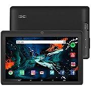 7 Zoll Tablet Google Android 8.1 Quad Core 1024x600 Dual Kamera Wi-Fi Bluetooth 1GB/8GB Play Store NetFilix Skype 3D Spiel Unterstützt GMS Zertifiziert mit Einem Jahr Garantie (Schwarz)