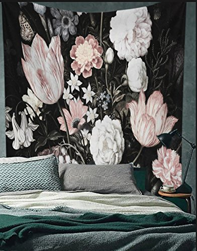 """Black Blossoms Beautiful Flowers Wall Hanging Floral Tapestry Fabric Wallpaper Home Decor,60""""x 81"""",Twin Size"""