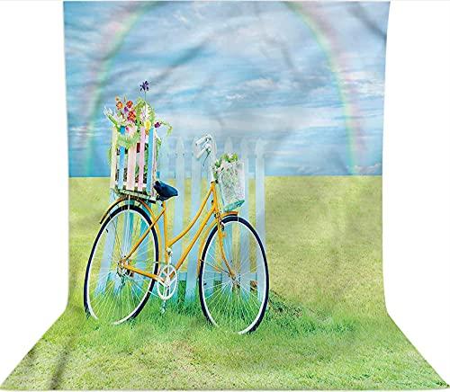Fondo de telón de fondo de 1,8 x 2,7 m, decoración nostálgica de la bici sobre el césped, telón de fondo de tela de microfibra, pantalla plegable de alta densidad para fotografía cabina de fotos