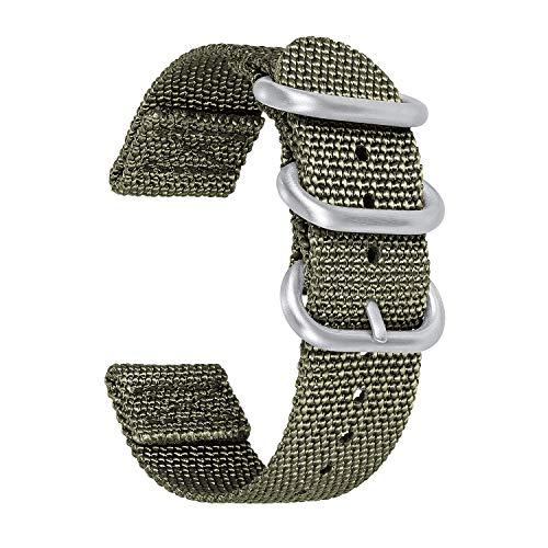 BINLUN Cinturini per Orologi NATO Cinturini in Nylon di Ricambio 18mm 20mm 22mm 24mm Cinturini per Uomo e Donna in 5 Colori: Nero, Blu, Grigio, Rosso, Verde