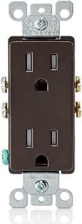 Leviton T5325 15 Amp 125 Volt, Tamper Resistant, Decora Duplex Receptacle, Straight Blade, Grounding, Brown