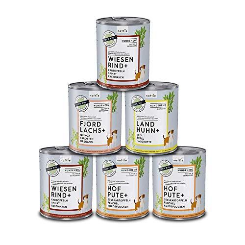 naftie Bio Hundefutter Mischpakete | Nassfutter Menüs Spar-Pakete mit 4 Sorten | Glutenfrei | 35% Fleischgehalt | ideal für Sensible & Senior Hunde | proteinarmes purinarmes Futter | 6 x 800g