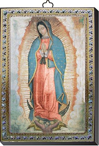 Cuadro Virgen de Guadalupe estampa sobre madera - 10 x 14 cm