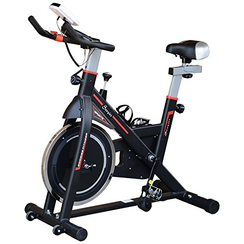 Soozier Upright Stationary Exercise Bike Indoor Cycling Bicycle Cardio Workout Trainer w/LCD Monitor Black