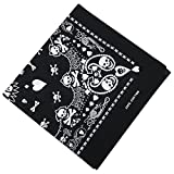 TRIXES Black Bandana Playing Card Head Scarf with Double-sided White Skull Design