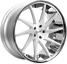 Azad AZ23 – 20 Inch Rims – Set of 4 Silver Machined with Chrome Lip Wheels – Sports Racing Cars – For Challenger, Charger, Mustang, Camaro, Cadillac and More (20x9) – Rines Para Carros – Car Rim Wheel