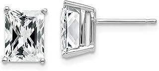 14k White Gold 8x6mm Radiant Cut Cubic Zirconia Post Stud Earrings Gemstone Fine Jewelry For Women