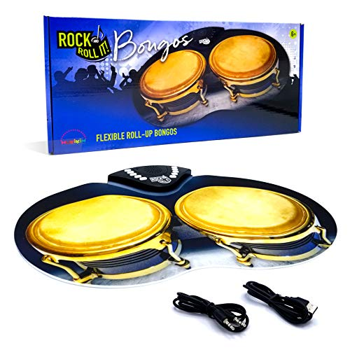 Rock and Roll It – Bongos. Flexible & Portable Electronic Hand Drum Pad with Realistic Percussion Sound. USB or Battery Powered, Built-In Speaker & Audio In/Output Support. Promotes Tactile learning