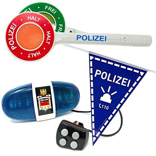 DDS Polizei Fahrrad Sirene und Wimpel - Polizeiset mit Polizeikelle, Fahrradwimpel und Polizeisirene Blaulicht | LED Licht Polizeilicht Zubehör Spielzeug für Kinder | Kelle inkl. Batterien (3er Set)