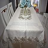 DJUX Mantel de Encaje para decoración del hogar, Tela para Mesa de té Bordada, mesita de Noche, A, 60 * 250CM