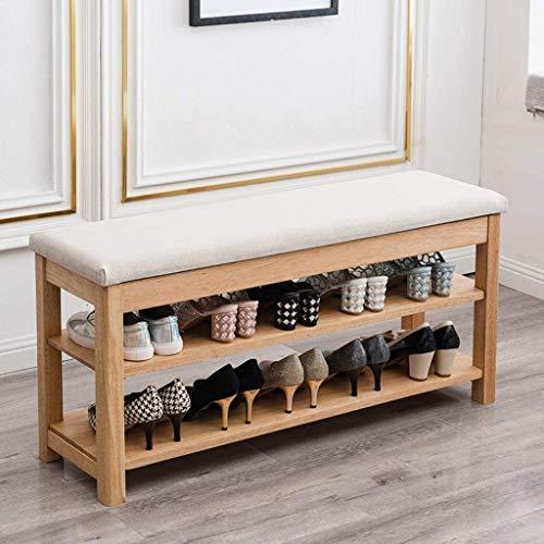 ZouYongKang Banco de zapatos de bambú 3-nivel, con ropa de zapato que cambia la puerta de la puerta de la puerta del asiento, estante de almacenamiento, buen cojinete de carga, ideal para la sala de e