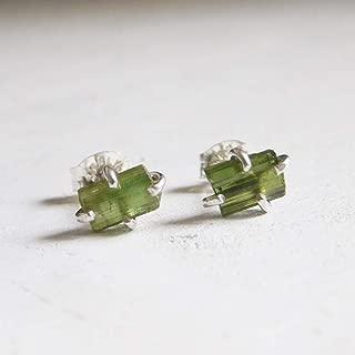 Green Tourmaline Crystal Earrings, Fine Silver 999 Stud Earrings, Green Tourmaline Stud Earrings