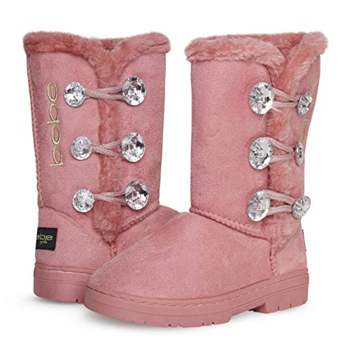 bebe Girl's Fur Lined Winter Boot with Rhinestone Details, Size 2 Little Kid, Blush/Gold'